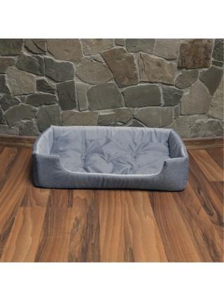 Лежак для домашніх тварин прямокутний 63х46 см сірий